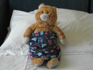 "M's trusty friend ""Cat"", came on holiday with us and the maids made M smile by dressing him in M's pjs"